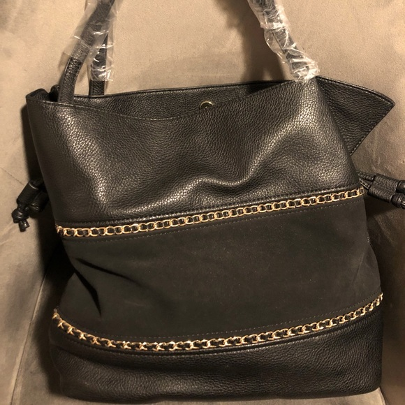 Faux Leather & Chain Slouchy Purse